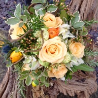 Bridal bouquet with cream roses