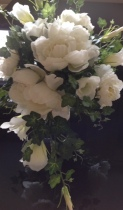 Brides Shower Bouquet, White Wild Roses and Lisianthus, Ivy and Foliage.