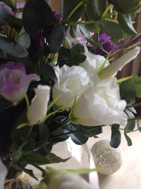 Classic Hand Tied Lisianthus Bouquet Close Up in Silk