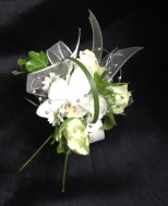 Gold and white fresh flower wrist corsage