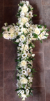 Open Cross, with roses, lisianthus and chrysanthemums. Price available on request.