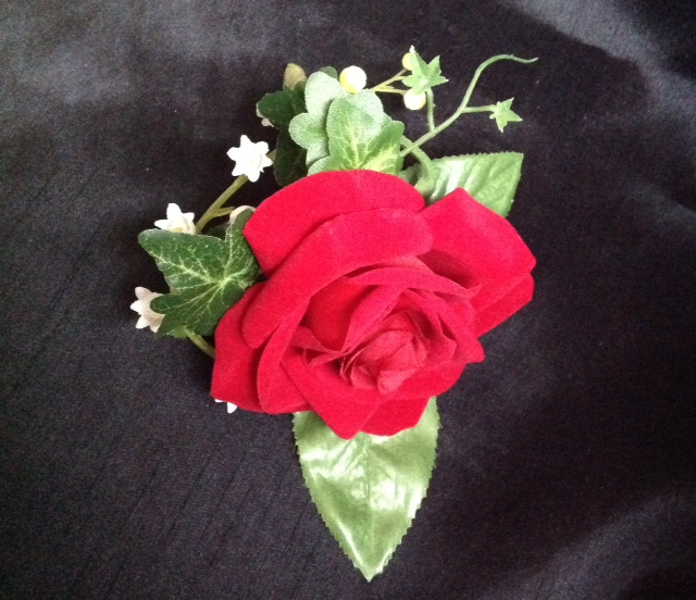 Single red rose buttonhole