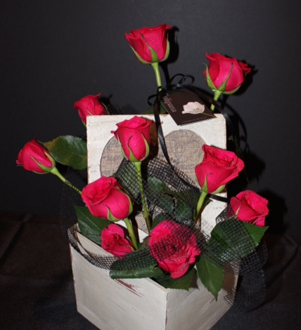 Red Bordeaux Box Arrangement of Roses