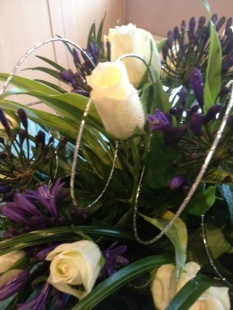 White roses and agapanthuss