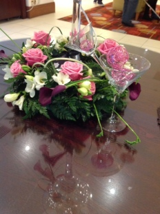 Showing pink table decoration