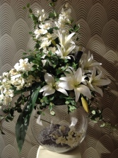 Large lily arrangement in bowl